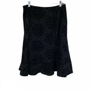 East 5th Black Floral Velvet Holiday Lined Skirt